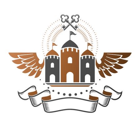 Ancient Citadel emblem. Heraldic vector design element. Retro style label, heraldry logo. Ornate logotype on isolated white background.