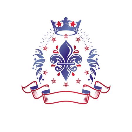 Retro vintage Insignia composed using lily flower, imperial crown and pentagonal stars. Vector royal quality idea design element, Fleur-De-Lis.