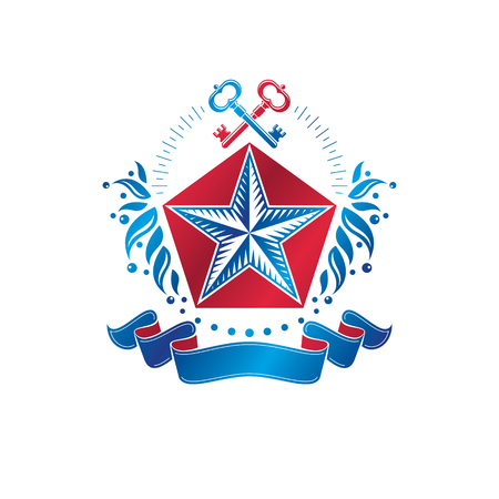 Ancient pentagonal Star emblem decorated with keys and floral ornament, security theme. Heraldic vector design element, guard symbol.  Retro style label, heraldry logo.