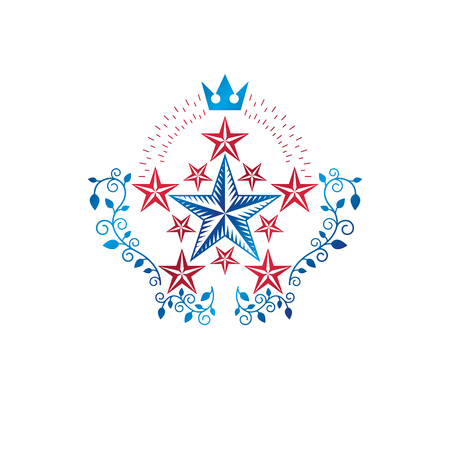 Military Star emblem created with royal crown and floral ornament. Heraldic vector design element, 5 stars guaranty insignia.  Retro style label, heraldry logo.