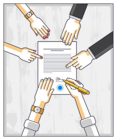 Bank customer write a sign on financial form of money credit with employees helps him and explains the terms of loan or Businessman signs contract paper, top view of desk with people hands. Vector.