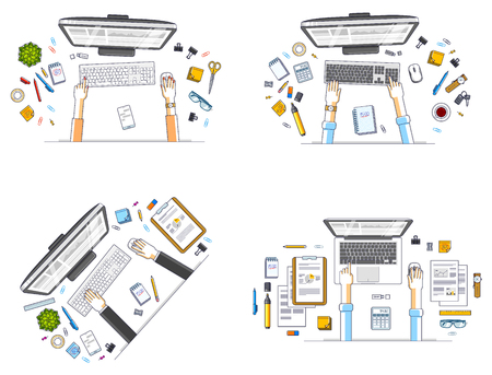 Office workers or entrepreneurs working on a PC computers, top view of workspaces desks with human hands and diverse stationery objects. All elements are easy to use separately. Vector set.