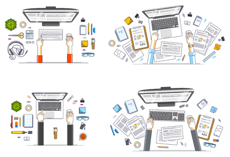 Work desks workspaces top view with hands of office workers or entrepreneurs, PC computers and a lot of different stationery objects on tables. All elements are easy to use separately. Vector set. 向量圖像
