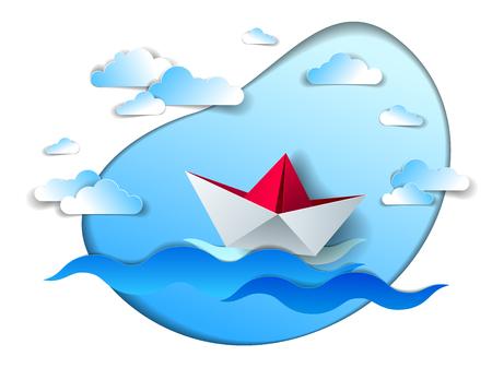 Navire en papier nageant dans les vagues de la mer, bateau jouet plié en origami flottant dans l'océan avec un magnifique paysage marin pittoresque avec des nuages dans le ciel, illustration vectorielle. Vecteurs