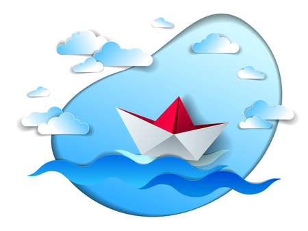 Paper ship swimming in sea waves, origami folded toy boat floating in the ocean with beautiful scenic seascape with clouds in the sky, vector illustration. Stock fotó - 113461542
