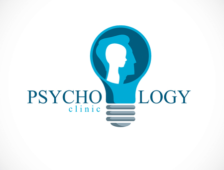 Psychology vector logo created with man head profile and little child boy inside the idea light bulb, inner child concept, origin of human individuality and psychic problems. Therapy and analysis.