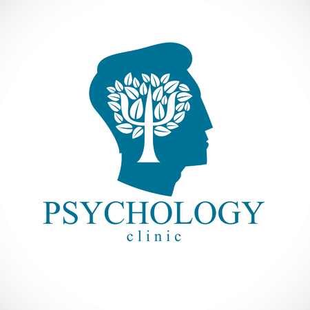 Psychology concept vector logo or icon created with Greek Psi symbol as a tree with leaves inside of man face profile, mental health concept, psychoanalysis analysis and psychotherapy.