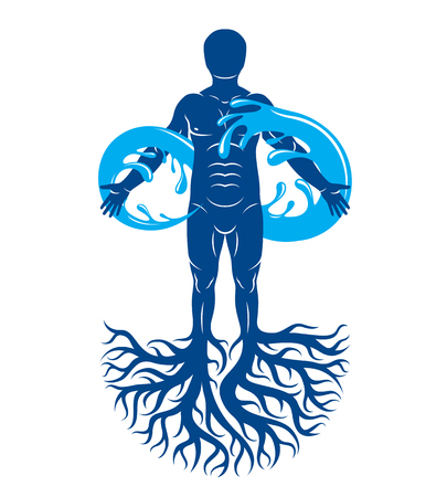 Vector illustration of human being, strong athlete with tree roots and limitless symbol composed from water splash. Human water consumption idea.