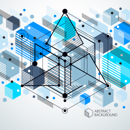 Abstract vector geometric isometric blue background. Mechanical scheme, vector engineering drawing with cube and geometric mechanism parts. Illustration