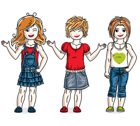 Cute little girls standing in stylish casual clothes. Vector set of beautiful kids illustrations.