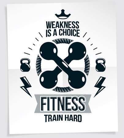 Sports center advertising poster composed with two dumbbells crossed, vector sport equipment. Weakness is a choice quote.