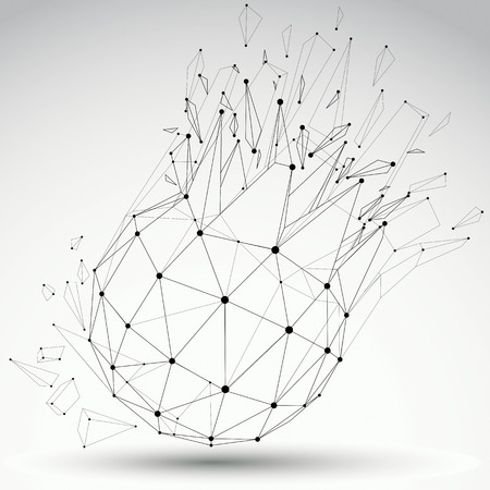 Perspective technology demolished shape with black lines and dots connected, polygonal wireframe object. Explosion effect, abstract faceted element cracked into multiple fragments. Illustration