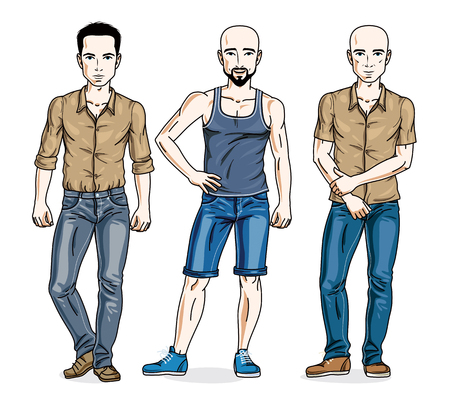Happy men group standing wearing casual clothes. Vector people illustrations set.
