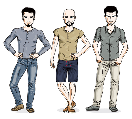 Handsome young men standing in stylish casual clothes. Vector diverse people illustrations set.