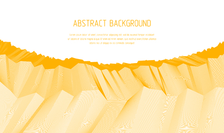Line art 3d abstract vector background with geometric linear terrain surface of fantastic cosmic planet landscape, science fiction illustration. Usable as template for layout with copy space for title and text.