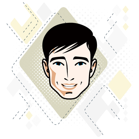 Vector illustration of handsome brunet male face, positive face features, clipart. Ilustracja