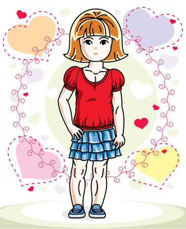 Little redhead cute child in wearing different casual clothes and standing on colorful backdrop with hearts. Vector illustration of nice girl. Illustration