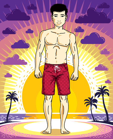 Handsome brunet man poses in shorts on background of sunset landscape with palms. Vector character. Summer holidays theme.