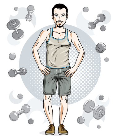 Handsome brunet young man with beard and whiskers poses on simple background with dumbbells and barbells. Vector illustration of sportsman. Work out and training theme.
