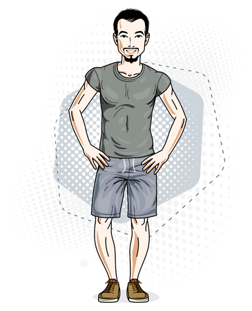 Confident handsome brunet young man standing. Vector illustration of male wearing casual clothes, jeans shorts and T-shirt.