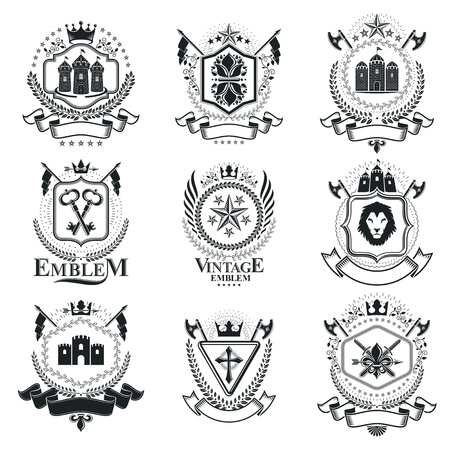 Vintage decorative emblems compositions, heraldic vectors. Classy high quality symbolic illustrations collection, vector set.
