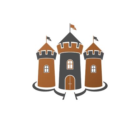 Illustration vectorielle isolée décorative forteresse médiévale. Logo de Fort rétro dans un style ancien isolé sur fond blanc.