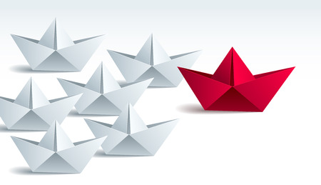 Leadership concept visualized with origami folded ship toys one of them is swimming in the front and leading the team group, vector modern style 3d realistic illustration.