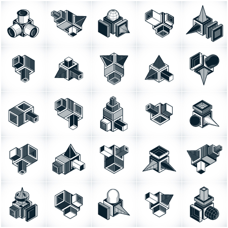 Abstract three dimensional shapes set, vector designs. Illustration