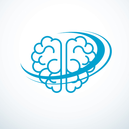 Human anatomical brain illustration, logo or icon.
