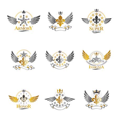 Ensemble d'emblèmes de couronnes royales et d'étoiles anciennes. Collection d'illustrations isolées de logos décoratifs des armoiries héraldiques.