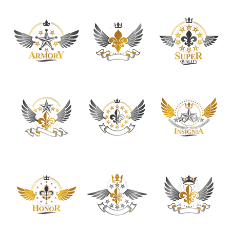 Royal Crowns and Ancient Stars emblems set. Heraldic Coat of Arms decorative logos isolated illustrations collection.