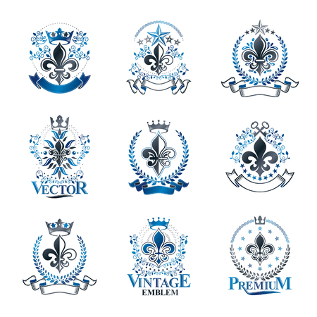 Lily Flowers Royal symbols emblems set. Heraldic Coat of Arms decorative logos isolated illustrations collection. Illustration