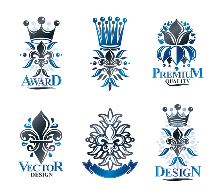 Lily Flowers Royal symbols, floral and crowns, emblems set. Heraldic Coat of Arms decorative logos isolated vector illustrations collection.