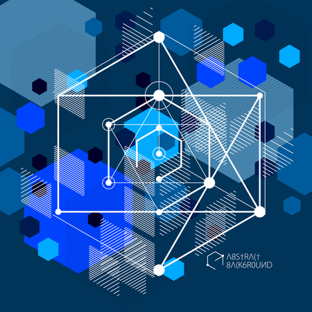 Modern isometric abstract dark blue background with geometric element. Layout of cubes, hexagons, squares, rectangles and different abstract elements.