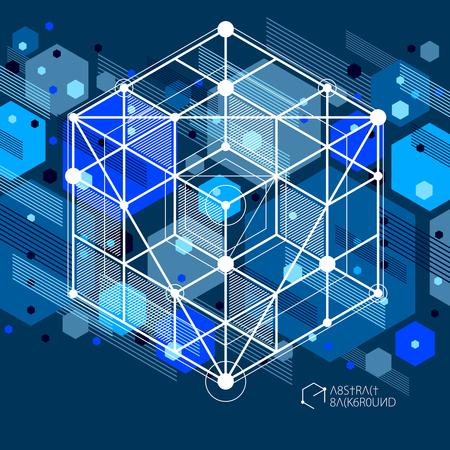 Vecteur de lignes de réseau cubiques abstraites modernes fond bleu noir. Disposition de cubes, hexagones, carrés, rectangles et différents éléments abstraits. Abstrait technique 3D.