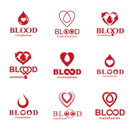 illustrations created on blood donation theme, blood transfusion and circulation metaphor. Rehabilitation conceptual logotypes for use in pharmacology.