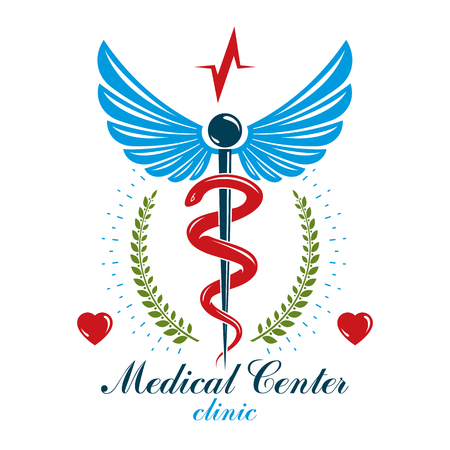 Caduceus conceptual logo made using heart shape and an ecg chart. Cardio rehabilitation center vector logotype for use in healthcare business. Illustration