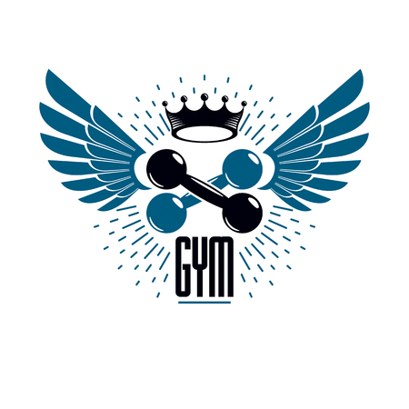 Sport logo for weightlifting gym and fitness club, vintage style emblem with wings. With dumbbell.