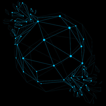 Vector dimensional wireframe luminescent object with blue connected lines, spherical demolished shape with refractions and wreckage. 3d mesh global technology element broken into pieces.