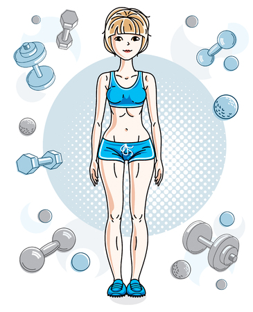 Young beautiful blonde athletic woman posing on simple background with dumbbells and barbells.  illustration of attractive female.  Active and healthy lifestyle theme cartoon.