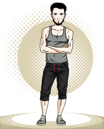 Athletic brunet young adult man standing. Vector character with beard wearing sport clothes, healthy lifestyle and fitness theme.