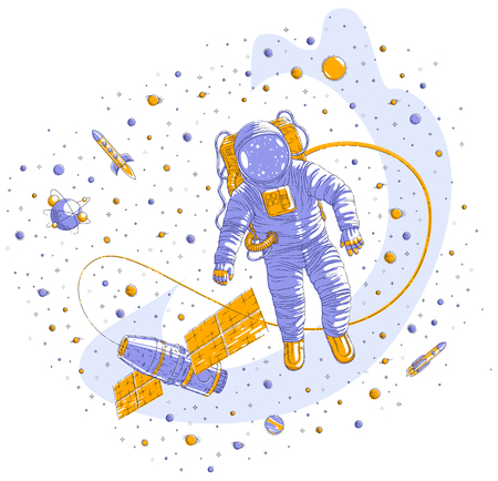 Spaceman flying in open space connected to space station, astronaut man or woman floating in cosmos and iss spacecraft surrounded by rockets, stars and other elements.