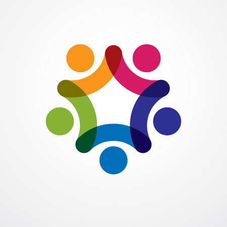 Teamwork businessman unity and cooperation concept created with simple geometric elements as a people crew. icon or logo. Friendship dream team, united crew colorful design. Ilustração