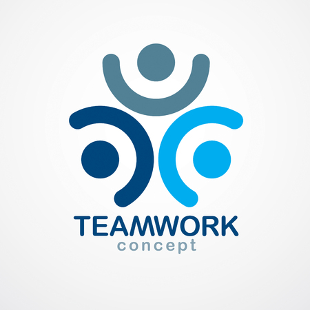 Teamwork and friendship concept created with simple geometric elements as a people crew. Unity and collaboration idea, dream team of business people blue design.