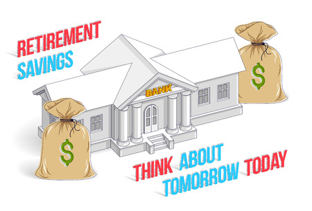 Concepto de ahorro para la jubilación, edificio de banco con dibujos animados de bolsas de dinero aislado sobre fondo blanco. 3d vector ilustración de negocios y finanzas, diseño de línea delgada isométrica.