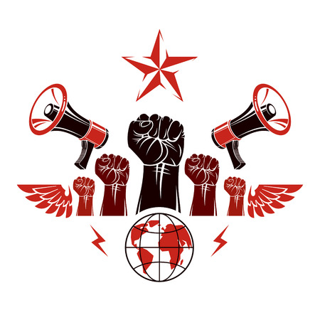 Marketing banner composed with loudspeakers, raised clenched fists and Earth planet, vector illustration. Propaganda as the means of influence on global public opinion.