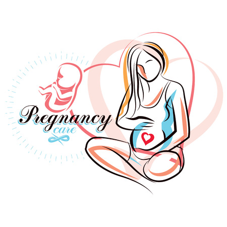Pregnant female beautiful body outline, mother-to-be drawn vector illustration. Pregnancy assistance center promotion mock up