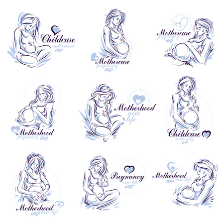 Pregnant woman elegant body silhouettes collection, sketchy vector illustration. Mother Day concept Ilustrace