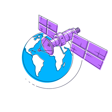 Communication satellite flying orbital spaceflight around earth, spacecraft space station with solar panels and satellite antenna plate. Thin line 3d vector illustration.