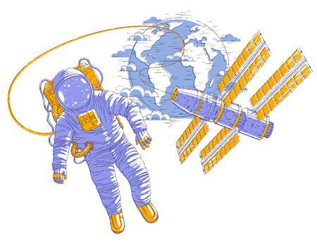 Astronaut flying in open space connected to space station and earth planet in background, spaceman in spacesuit floating in weightlessness